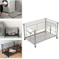 Metal Wire Storage Basket Bathroom Kitchen Bedroom Box Bin Sliding Drawer Case Silver