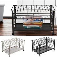 Metal Wire Storage Basket Bathroom Kitchen Bedroom Box Bin Sliding Drawer Case Black