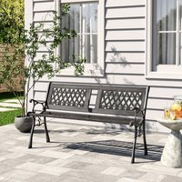 MetalandWood Garden Bench Seat Patio 2-3 Seater Armrest Chair Iron Outdoor Seating 126x40x74CM