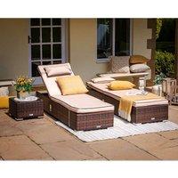 Miami Rattan Garden Sun Lounger Set in Chocolate and Cream