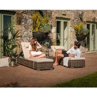 Miami Rattan Garden Sun Lounger Set in Premium Truffle Brown and Champagne
