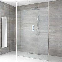 Alto - 1400mm Floating Glass Walk In Wet Room Shower Enclosure with Screen, Profile, Floor to Ceiling Poles and 1200mm Tile Insert Shower Drain