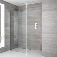 Alto - 760mm Recessed Walk In Wet Room Shower Enclosure with Screen, Profile, Floor to Ceiling Pole and 1200mm Linear Shower Drain - Chrome - Milano