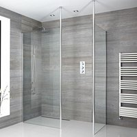 Alto - Corner Walk In Wet Room Shower Enclosure with 900mm and 700mm Screens, Profile, Floor to Ceiling Poles and 400mm Tile Insert Shower Drain