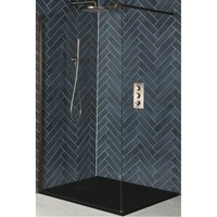 Vara - Walk In Wet Room Shower Enclosure with Screen, Support Arm and 900mm x 800mm Graphite Slate Effect Tray - Matte Copper - Milano