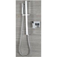 Arvo - Modern 1 Outlet Manual Mixer Shower Valve with Hand Shower Handset Slide Rail Bar Kit - Chrome - Milano
