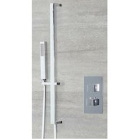 Arvo - Modern 1 Outlet Twin Thermostatic Mixer Shower Valve with Hand Shower Handset Riser Rail Slide Bar Kit - Chrome - Milano