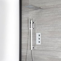 Milano Arvo - Modern 2 Outlet Triple Thermostatic Mixer Shower Valve with 300mm Wall Mounted Square Rainfall Shower Head and Hand Shower Handset