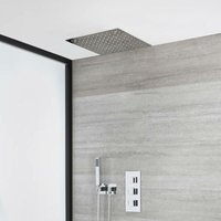 Milano Arvo - Modern 2 Outlet Triple Thermostatic Mixer Shower Valve with 400mm Ceiling Mounted Square Recessed Rainfall Shower Head and Square Hand