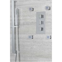 Arvo - Modern 2 Outlet Triple Thermostatic Mixer Shower Valve with Hand Shower Handset Slide Rail Kit and Four Body Jets - Chrome - Milano