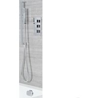 Milano Arvo - Modern 2 Outlet Triple Thermostatic Mixer Shower Valve with Hand Shower Handset Slide Rail Kit and Overflow Bath Filler Tap - Chrome