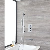 Milano Arvo - Modern 2 Outlet Triple Thermostatic Mixer Shower Valve with Hand Shower Handset Slide Rail Kit and Wall Mounted Waterfall Bath Filler