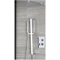 Arvo - Modern 2 Outlet Twin Diverter Thermostatic Mixer Shower Valve with 300mm Wall Mounted Square Rainfall Shower Head and Hand Shower Handset
