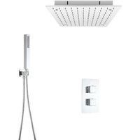 Milano Arvo - Modern 2 Outlet Twin Diverter Thermostatic Mixer Shower Valve with 400mm Ceiling Mounted Square Recessed Rainfall Shower Head and Hand