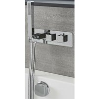 Arvo - Modern 2 Outlet Twin Diverter Thermostatic Mixer Shower Valve with Hand Shower Handset and Overflow Bath Filler Tap- Chrome - Milano
