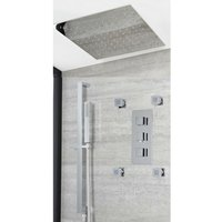 Milano Arvo - Modern 3 Outlet Triple Diverter Thermostatic Mixer Shower Valve with 400mm Square Ceiling Mounted Recessed Rainfall Shower Head, Hand