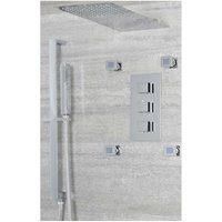 Milano Arvo - Modern 3 Outlet Triple Diverter Thermostatic Mixer Shower Valve with Wall Mounted 200mm x 487mm Fixed Thin Rainfall Shower Head, Hand
