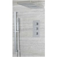 Milano Arvo - Modern 3 Outlet Triple Diverter Thermostatic Mixer Shower Valve with Wall Mounted Rainfall and Waterblade Shower Head and Hand Shower