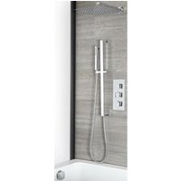Arvo - Modern 3 Outlet Triple Thermostatic Mixer Shower Valve with Wall Mounted 300mm Square Rainfall Shower Head, Hand Shower Handset Slide Rail Kit