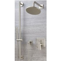 Milano Ashurst - Modern Brushed Nickel Manual Diverter Mixer Shower Valve with 188mm Wall Mounted Rainfall Shower Head and Hand Shower Handset Slide