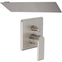 Milano Ashurst - Modern Brushed Nickel Manual Diverter Mixer Shower Valve with 200mm x 500mm Wall Mounted Rainfall Shower Head with Waterblade