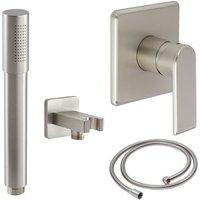 Milano Ashurst - Modern Brushed Nickel Manual Mixer Shower Valve with Hand Shower Handset Kit