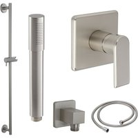 Milano Ashurst - Modern Brushed Nickel Manual Mixer Shower Valve with Hand Shower Handset Slide Riser Rail Bar Kit