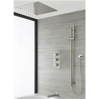 Ashurst - Modern 3 Outlet Triple Thermostatic Mixer Shower Valve with Ceiling Mounted 400mm Square Recessed Rainfall Shower Head, Riser Rail Slide