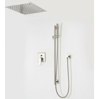 Milano Ashurst - Modern Brushed Nickel Manual Diverter Mixer Shower Valve with 400mm Square Ceiling Mounted Recessed Rainfall Shower Head and Riser