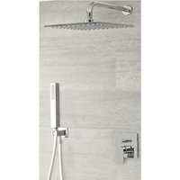 Hunston - Modern Chrome Manual Diverter Mixer Shower Valve with 300mm Square Rainfall Shower Head and Hand Shower Handset - Milano
