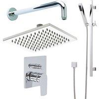 Ashurst - Modern Chrome Manual Diverter Mixer Shower Valve with 300mm Square Rainfall Shower Head and Hand Shower Handset Slide Bar Rail Kit - Milano