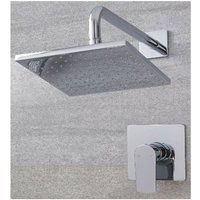 Hunston - Modern Chrome Manual Mixer Shower Valve with 300mm Square Rainfall Shower Head and Wall Mounted Arm - Milano
