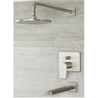 Milano Ashurst - Modern Manual Diverter Mixer Shower Valve with 188mm Round Rainfall Shower Head and Wall Mounted Bath Spout - Brushed Nickel