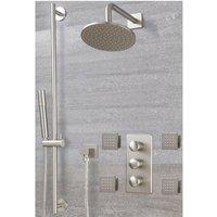 Milano Ashurst - Modern 3 Outlet Triple Diverter Thermostatic Mixer Shower Valve with Wall Mounted 188mm Rainfall Shower Head, Riser Rail Slide Bar