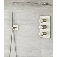 Milano Ashurst - Modern 3 Outlet Triple Diverter Thermostatic Mixer Shower Valve with Wall Mounted 200mm x 500mm Rainfall and Waterblade Shower Head