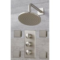 Milano Ashurst - Modern 2 Outlet Triple Thermostatic Mixer Shower Valve with 188mm Wall Mounted Rainfall Shower Head and Body Jets – Brushed Nickel