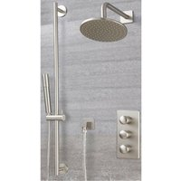 Milano Ashurst - Modern 2 Outlet Triple Thermostatic Mixer Shower Valve with 188mm Wall Mounted Round Rainfall Shower Head and Hand Shower Handset