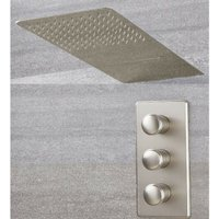 Milano Ashurst - Modern 2 Outlet Triple Thermostatic Mixer Shower Valve with 200mm x 500mm Wall Mounted Rainfall Shower Head with Waterblade Function