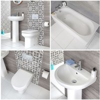Milano Ballam - White Modern Bathroom Suite with Straight Bath, Back to Wall Toilet WC and Full Pedestal Basin Sink with One Tap-Hole