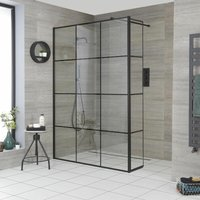 Barq - 1400mm Recessed Walk In Wet Room Shower Enclosure with Grid Pattern Screen, Hinged Return Panel, Support Arm and 800mm Stainless Steel Linear