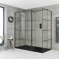 Barq - Corner Walk In Wet Room Shower Enclosure with Grid Pattern Screens, Hinged Return Panel, Support Arms and 1400mm x 800mm Graphite Slate Effect