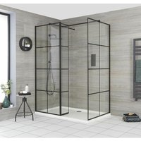 Barq - Corner Walk In Wet Room Shower Enclosure with Grid Pattern Screens, Hinged Return Panel, Support Arms and 1400mm x 800mm White Tray - Black
