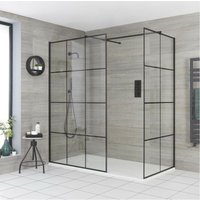 Barq - Corner Walk In Wet Room Shower Enclosure with Grid Pattern Screens, Support Arms and 1600mm x 800mm White Slate Effect Tray - Black - Milano