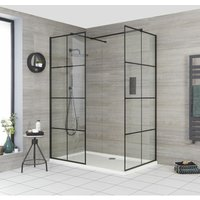 Barq - Corner Walk In Wet Room Shower Enclosure with Grid Pattern Screens, Support Arms and 1100mm x 900mm White Tray - Black - Milano