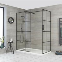Barq - Corner Walk In Wet Room Shower Enclosure with Grid Pattern Screens, Support Arms and 1600mm x 800mm White Tray with Drying Area - Black