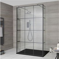 Barq - Floating Glass Walk In Wet Room Shower Enclosure with 900mm Grid Pattern Screen, Hinged Return Panels, Support Arms and 900mm x 800mm Graphite