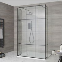 Barq - Floating Glass Walk In Wet Room Shower Enclosure with 1000mm Grid Pattern Screen, Hinged Return Panels, Support Arms and 1000mm x 800mm White