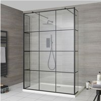 Barq - Floating Glass Walk In Wet Room Shower Enclosure with 900mm Grid Pattern Screen, Hinged Return Panels, Support Arms and 900mm x 760mm White