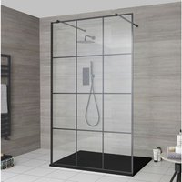 Milano Barq - Floating Glass Walk In Wet Room Shower Enclosure with 1200mm Grid Pattern Screen, Support Arms and 1200mm x 900mm Graphite Slate Effect