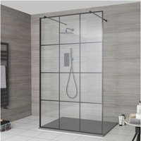Barq - Floating Glass Walk In Wet Room Shower Enclosure with 900mm Grid Pattern Screen, Support Arms and 900mm x 800mm Light Grey Slate Effect Tray